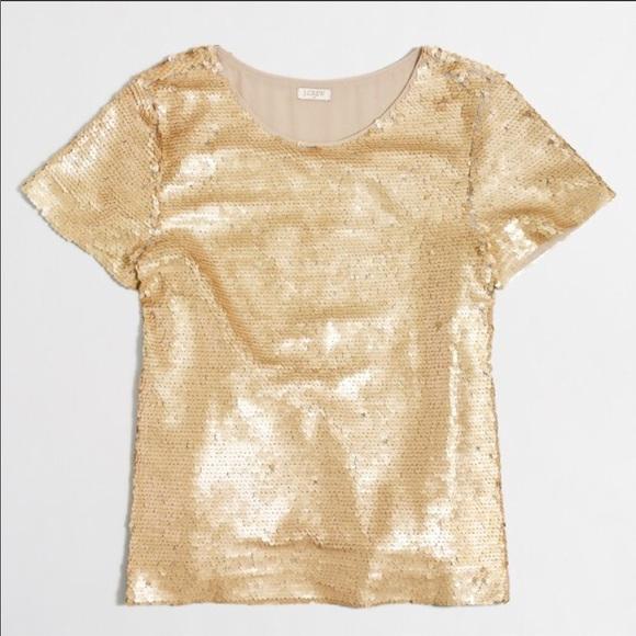 J. Crew Factory Tops - J. Crew Factory Gold Sequin Top size: M